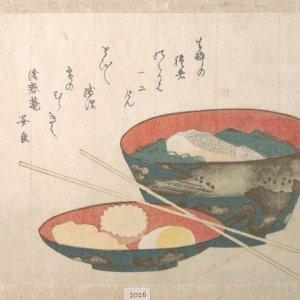 Washoku in old Edo era wood block print