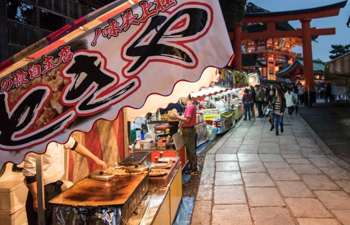 Matsuri stalls shrine