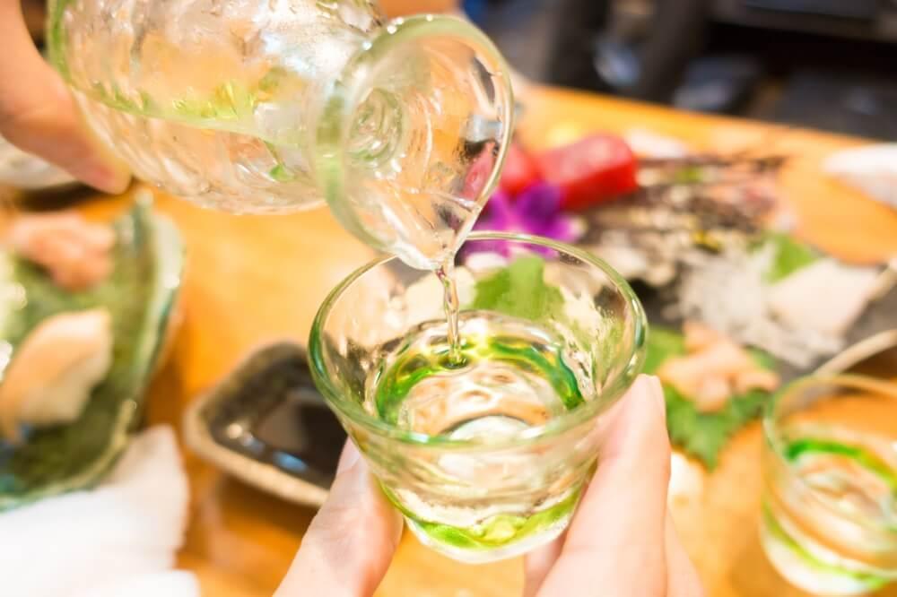 summer sake green glass