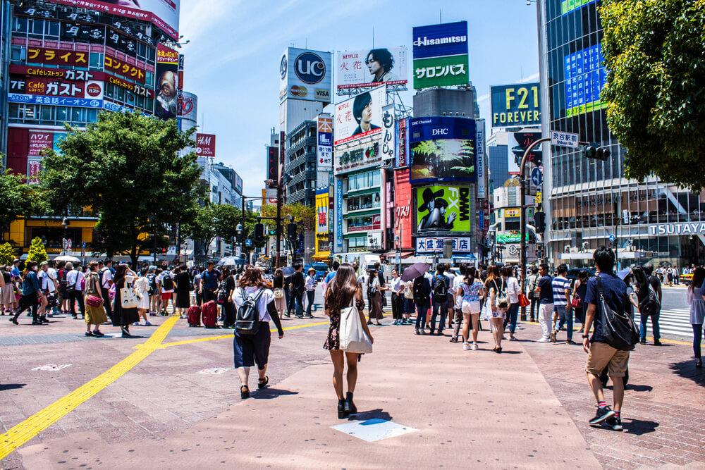 shibuya crossing sunny day