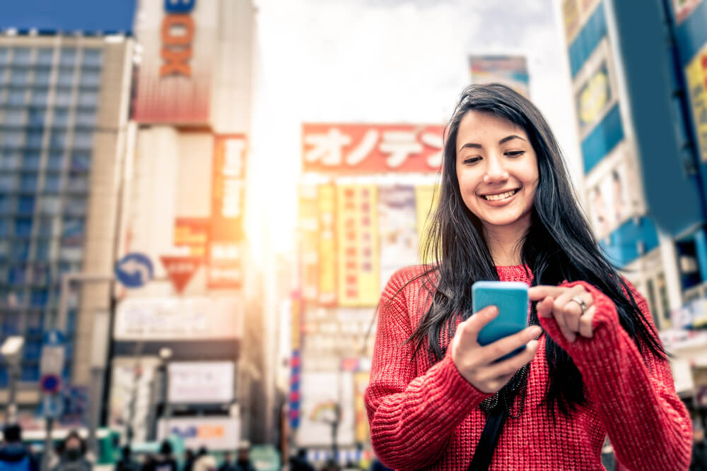 Smartphone tourist japan